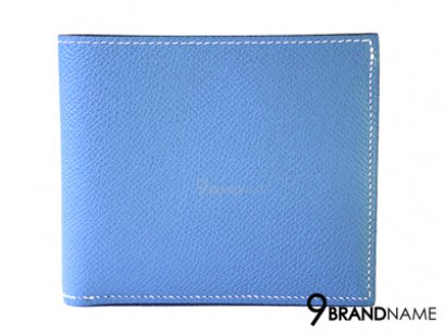 Hermes MC2 Copernicus bi-fold wallet Blue hydra Evercolor leather