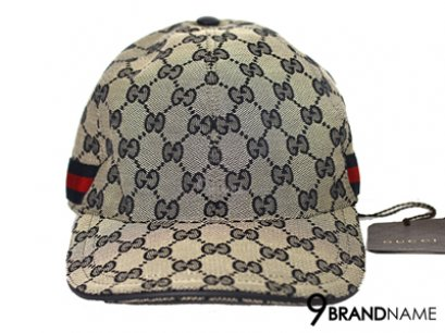 Original GG canvas baseball hat with web blue original GG fabric with blue/red/blue signature web and blue leather trim
