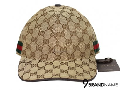 Original GG canvas baseball hat with web Beige/ebony original GG fabric  with green/red/green signature web and brown leather trim