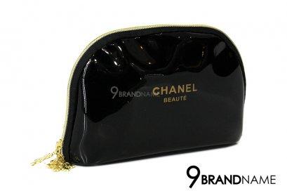 CHANEL Beaute 6'' Cosmetic Bag Black Patent Snowflakes Zip