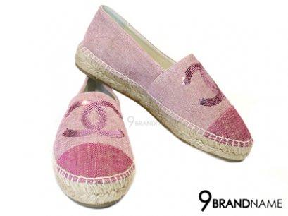 Chanel Pink Nib Size 38 Canvas Linen Cap Toe Cc Espadrilles With Sequins