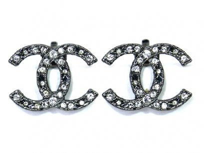 Chanel Crystal Earrings CC Silver Large Clip