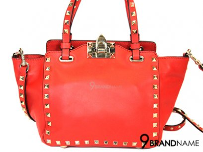 In Stock Valentino Rockstud Small Trapeze Tote Red