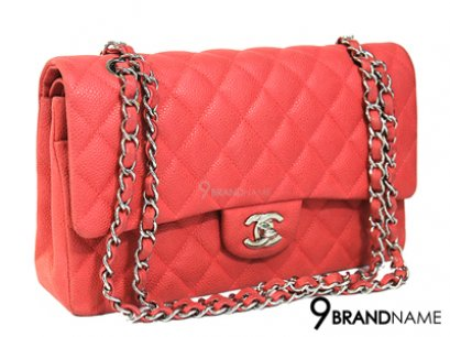 Chanel Classic 10 Caviar Suede Red Orange SHW