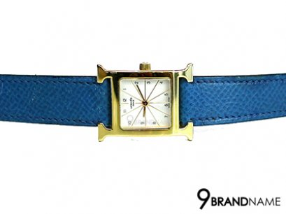 Hermes H Hour White Dial Blue Leather Ladies Watch