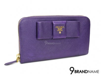Prada Wallet Long Zip Bow Saffiano Viola 1M0506