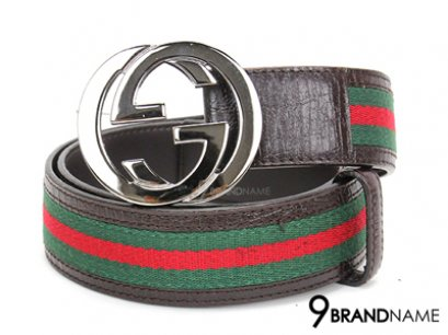 Gucci Belt Ribbon Green Red Size 90cm Buckle Double G Silver