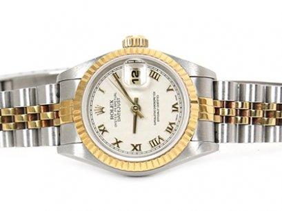 Rolex Date Just 2K Yellow Gold Roman Jubilee Lady Size - นาฬิกา โรเล็กซ์ เดทจัส สองกษัติย์ ไซส์ เลดี้ หน้าขาว หลักโรมัน สายจูบีลี่โปร่ง บานพับกด น้ำหนักเบากว่ารุ่นใหม่ ไม่หนักข้อมือ ใส่สบาย สวยเรียบหรู