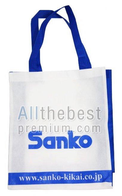 ถุงผ้าสปันบอนด์สีขาวฟ้า - Sanko