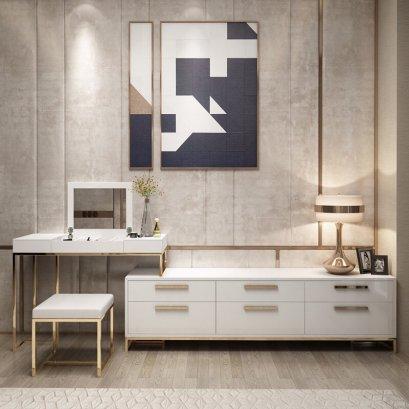 โต๊ะเครื่องแป้ง+ตู้ทีวี Luxury