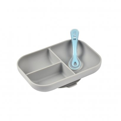 Silicone Suction Divided Plate with Spoon - Grey