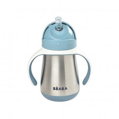 กระติกน้ำหัดดื่ม Stainless Steel Straw Cup with Handles 250ml - Windy Blue