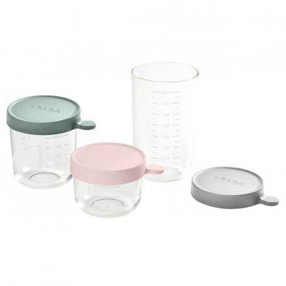Set of 3 cconservation Jars in Glass  (150 ml PINK / 250 ml EUCALYPTUS GREEN / 400 ml LIGHT GREY)