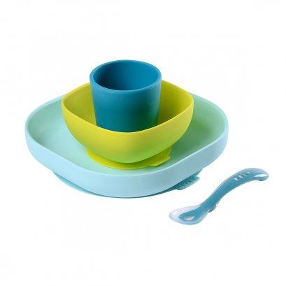 Silicone meal set (4 pcs) - BLUE