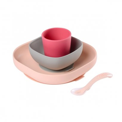 Silicone meal set (4 pcs) - PINK