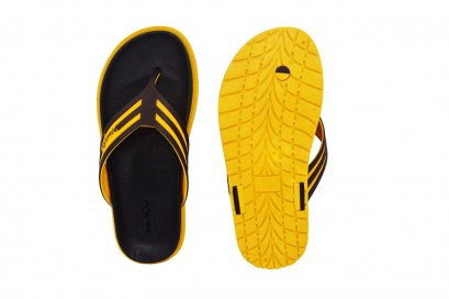 Comfy Flipper - blackOut พื้นดำ/เหลือง หูน้ำตาล/เหลือง