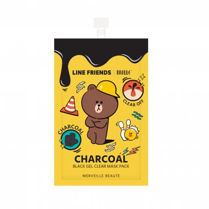LINE FRIENDS L MILLE CHARCOAL BLACK GEL CLEAR MASK PACK 7G.