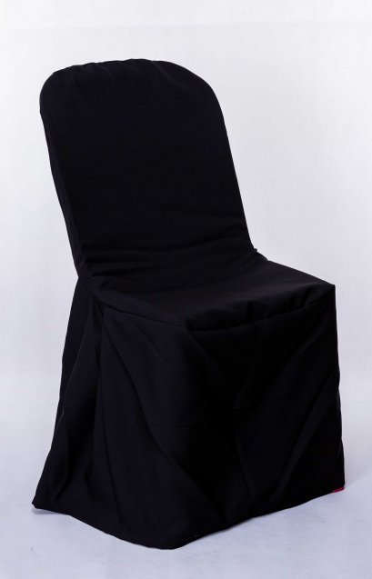 เก้าอี้พลาสติกคลุมผ้าสีดำ
