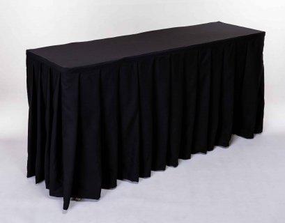เช่าโต๊ะคลุมผ้าสีดำแบบจีบเรียง