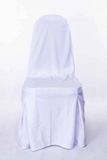 เช่าเก้าอี้บุนวมทรงเอคลุมผ้าสีขาว