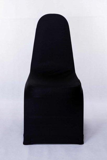 เช่าเก้าอี้บุนวมทรงเอคลุมผ้าสีดำ