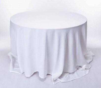 เช่าโต๊ะกลมคลุมผ้าสีขาว