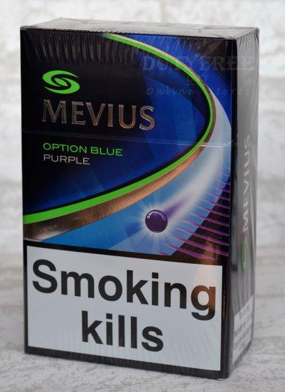 MEVIUS Option Blue Purple (1เม็ดบีบ) 1คอตตอน (Made in Japan)