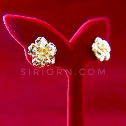 ต่างหูทองคำแท้ 96.5% ลายดอกชบา