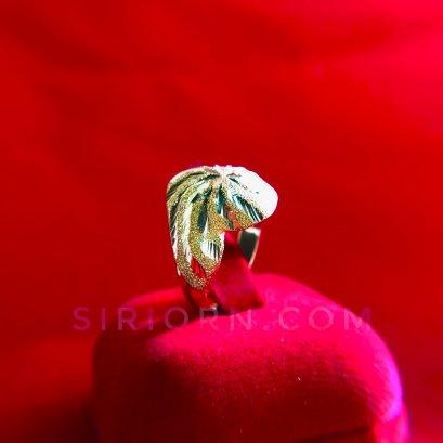 แหวนทองคำแท้ 96.5%ลายหัวโปร่งลายก้นหอยจิกเพชรตัดลาย