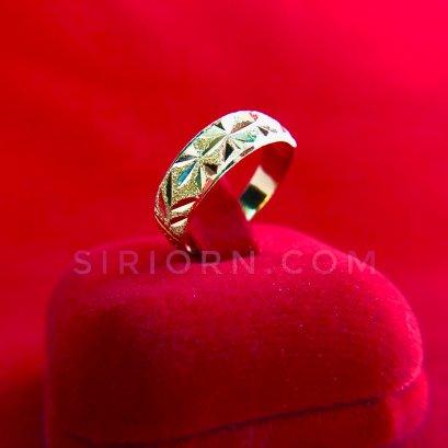 แหวนทองคำแท้ 96.5% ลายตันจิกเพชรตัดลาย