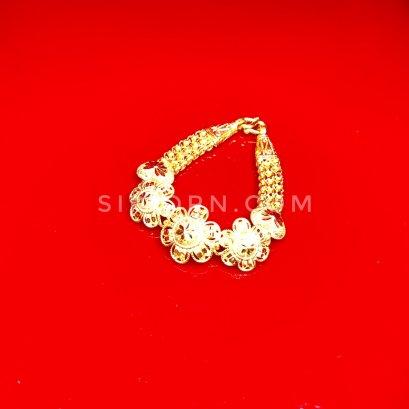 สร้อยข้อมือทองคำแท้ 96.5% ลายผ่าหวายดอกไม้