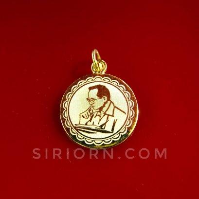 จี้ทองคำแท้ 96.5%ลายร.9 กลมพ่นทรายทอง
