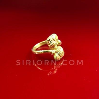 แหวนทองคำแท้ 96.5% ลายหัวใจคู่จิกเพชรตัดลาย