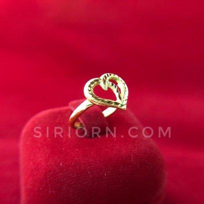 แหวนทองคำแท้ 96.5% ลายหัวใจไขว้กลางฉลุ