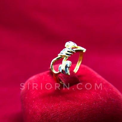 แหวนทองคำแท้ 96.5% ลายโบว์หัวใจ2สี