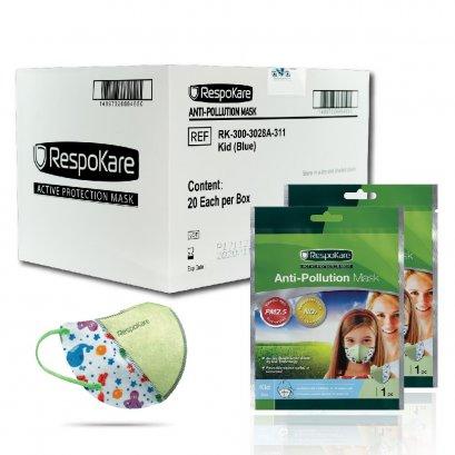 RespoKare หน้ากากป้องกันมลพิษและฝุ่นควัน สำหรับเด็ก สีฟ้า 1กล่อง/ 20 ชิ้น