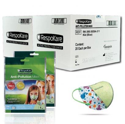 RespoKare หน้ากากป้องกันมลพิษและฝุ่นควัน สำหรับเด็ก สีฟ้า 2กล่อง/ 40 ชิ้น