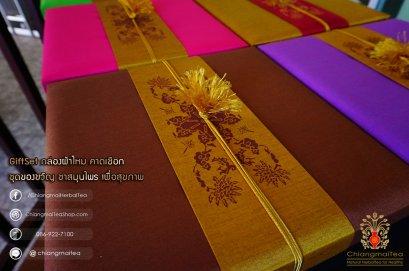 ชุดชงชาเซรามิก กล่องผ้าไหม (คาดเชือก) สีน้ำตาล