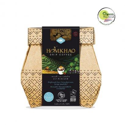 Homkhao Organic Drip Coffee:   หอมข้าวกาแฟดริป ออร์แกนิค ตรา ฮิลล์คอฟฟ์  บรรจุขนาด 10 กรัม × 8 ซอง
