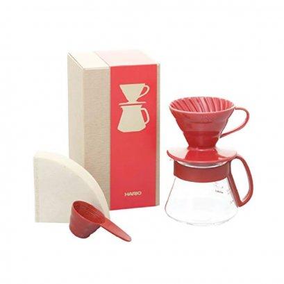Hario XVDD-3012R V60 Ceramic Dripper 01 Set (Red)