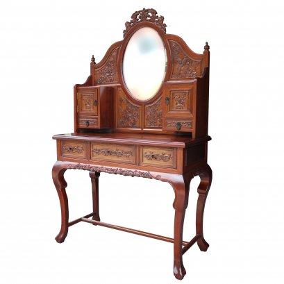 โต๊ะเครื่องแป้งไม้จริงสไตล์วินเทจแบบจีนเซี่ยงไฮ้