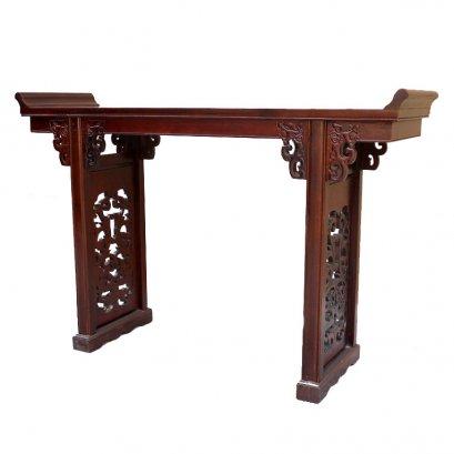โต๊ะไหว้ไม้ปลายงอนแกะลายมังกร 145 ซม.