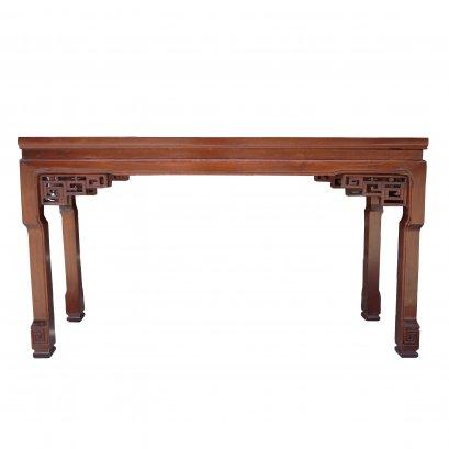 โต๊ะไหว้เจ้าไม้ท็อปเรียบแกะลายวง 125 ซม.