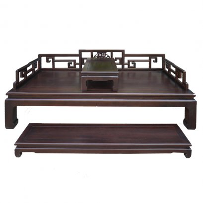 Chinese antique style wooden daybed in dark oak color for sell in Bangkok