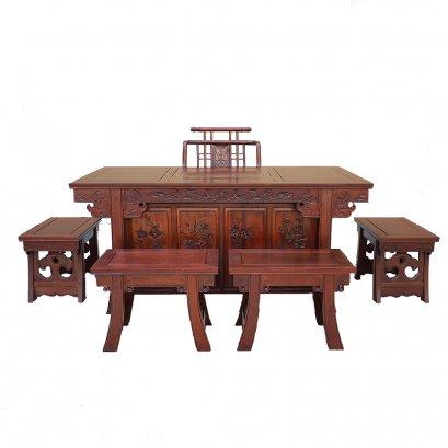 ชุดโต๊ะชงชาไม้ 5 ที่นั่งแกะสลักลายดอกไม้