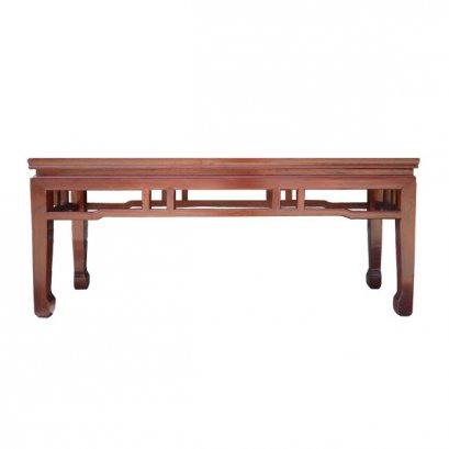 โต๊ะไม้ทรงเตี้ยแต่งลายโปร่งด้านข้างแบบจีน 120 ซม.