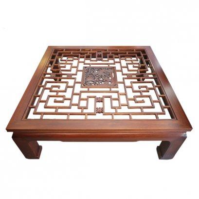 โต๊ะกลางไม้แกะลายโปร่งแบบจีน 130 ซม.