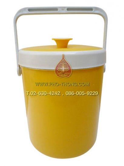 กระติกพลาสติกอย่างดี - สีเหลือง (ความจุ 9 ลิตร) ขนาด 30 x 27 ซม.