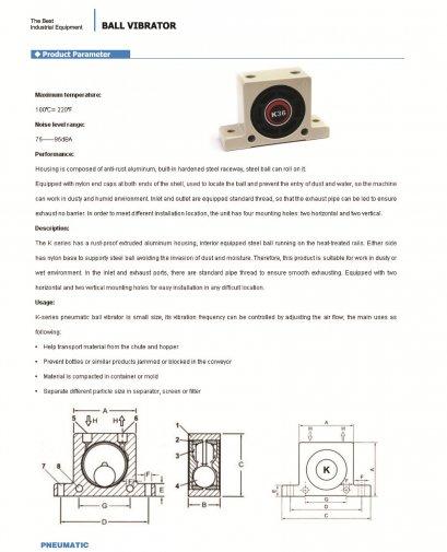 K Series Pneumatic Ball Vibrator
