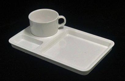 """ชุดถ้วยกาแฟพร้อมจานรอง 10"""" (สีครีมขาว)"""